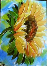 "ACEO ORIGINAL PAINTING Dixie Art Card ""WINTER SUNSHINE"" SUNFLOWER COLORFUL IMPRE"