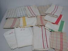 14 VINTAGE LINEN & COTTON KITCHEN DISH TOWELS ~ MOST with STRIPES & CHECKS