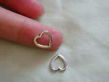 20 small heart charms pendant beads hollow Tibetan silver antique wholesale UK