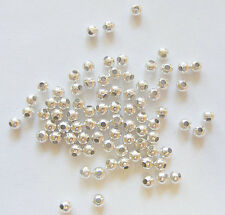 200 Silver Plated Metal Round Spacer Beads - 4mm