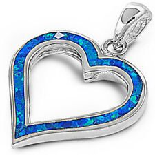 LOVE! Blue Australian FIRE Opal HEART .925 Sterling Silver Pendant