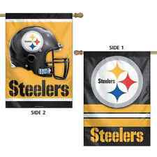 """PITTSBURGH STEELERS LOGO 28""""X40"""" DOUBLE SIDED BANNER FLAG BRAND NEW WINCRAFT"""