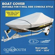 "HEAVY DUTY SOLUTION DYED POLYESTER V-HULL SIDE CONSOLE BOAT COVER 15'4""-16'4"""