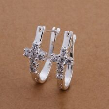 New Women 925 Sterling Silver Plated Fashion Cross Hoop Studs Earrings Jewelry