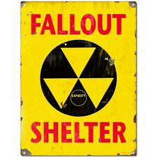 Fallout Shelter Yellow Nuclear Atomic Age Vintage Steel Sign 50s Decor 12 x 16