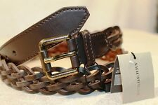 New Burberry Black Woven With Gold Color Buckle Leather Belt Size 40 100