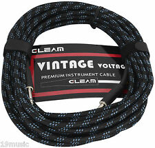 instrument guitar cable BLACK lead 10m vintage retro braid fabric (1617) fender