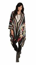 Shawl Poncho Long Western Womens One Size Fits Most Black Cowgirl Ruana Capes