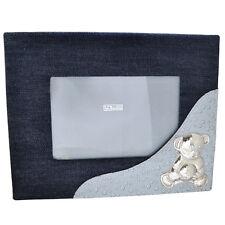 Cornice portafoto per bimbo in jeans e pelle con orsetto con pallone in argento