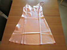Ladies satin/silky effect nightdress chemise pastel pink with bow size 14/16