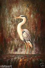"""Quality Oil Painting on Stretched Canvas - 24x36"""" Lovely Egret in Water"""
