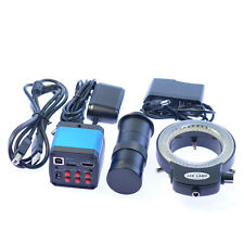 14MP HDMI USB Industry 100X C-mount Microscope Camera TF Video Recoder 144 LED