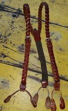 Cognac Braided/Woven Leather Button Suspenders Braces W/ Brass Buckles