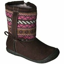 NWT Boots Brown Pink Faux Fur Lining Toddler 10