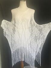 Joseph Ribkoff White Crochet Fringe Poncho Made In Italy Size OSFM   NWOT