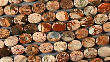 "SUPER BRECCIATED JASPER 14X10MM OVAL  BEADS 16"" STRAND BROWN SALMON TAN RED"