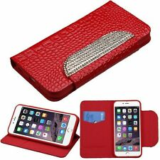 For Apple iPhone 6 Plus/6s Plus Red White Leather Crocodile Skin Case w/stand