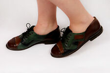 30s 40s vintage patch work leather Brogues by MAYER green & brown