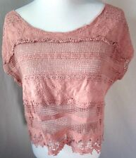 Women Pink Lace Crochet Shirt Top Short Sleeve Cotton Cropped Boho Bohemian S/M