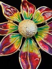 """RED GOLD GREEN CHRISTMAS POINSETTIA FLOWER PIN BROOCH PENDANT JEWELRY 2.5"""" 3D"""