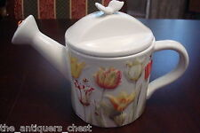 Marjolein Bastin Teapot Watering Can Signed Raised Tulips Bumble Bee Lady Bug[6]