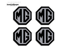 MG ZR Alloy Wheel Centre Caps Badges Black & Silver 45mm Hub Cap Badge 4 Pack
