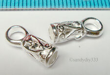2x STERLING SILVER BRIGHT 3mm LEATHER END CAP #1131
