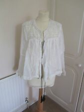 BNWT ZARA WOMAN SOLD OUT CREAM LINEN BEADED FESTIVAL LOOSE JACKET SIZE M