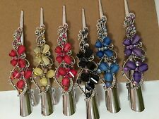 6 Butterfly Hair Clip Jeweled Claw Multi-Color Rhinestone 5""