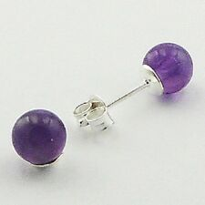 Stud Earrings 6mm Diameter Sterling Silver Teensy Amethyst Spheres Ear Stud NEW