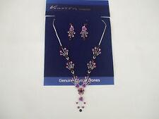 Corte púrpura Piedras Collar/Pendientes Conjunto Lila Rosas tallos En Color Plata Nueva