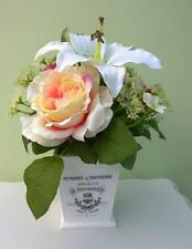 Shabby Artificial Flower Arrangement Vintage French Style Pink Rose Cream Lily