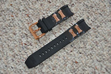 Invicta Russian Diver Black Polyurethane Strap Band Rose Gold Inserts