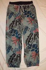 J Peterman Womens Harem Pants sz M Loose-Fit Cotton Blue Black Floral Tropical