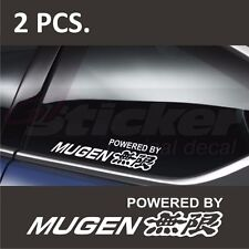 2 pcs. Powered by HONDA MUGEN Window Decal sticker emblem logo White