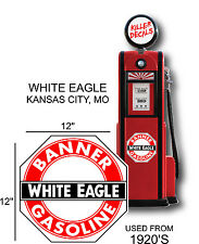 "12"" 1920- WHITE EAGLE GASOLINE DECAL OIL CAN / GAS PUMP / LUBSTER"