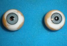 """pair of old glass eyes blue 0.73"""" f. turtle-mark"""
