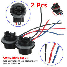 2 Pcs 3157 3156 Car Autos LED Brake Signal Light Socket Harness Wire Adapter Kit