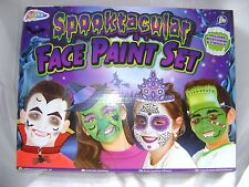 NEW HALLOWEEN SPOOKTACULAR FACE PAINT SET PAINTS PENCILS BRUSHES + PROPS GRAFIX