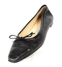 MANOLO BLAHNIK Black Leather Bow Detail Skimmer Flats 37.5