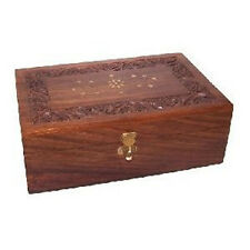 Wood and Brass Inlay Aromatherapy Oils Box Holds 12 x 10ml + 4 x 100ml Bottles