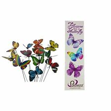 12 Colourful Garden Plastic Butterflies On  Sticks With Butterfly Bookmark