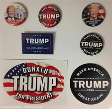 Donald Trump Set 5 campaign buttons and 2 bumper stickers