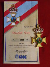 Göde Orden Bayern 1766 - Elisabeth-Orden + Zertifikat Nr.0221