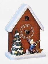 Roman LED Rudolph The Red Nosed Reindeer Musical Clock with Harmony Bird 6""