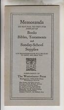 VINTAGE MEMORANDA - THE WESTMINSTER PRESS - SUNDAY-SCHOOL SUPPLIES