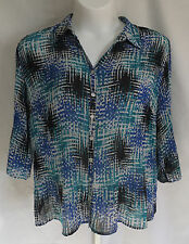 Fashion Bug Womens Size 2X 3/4 Sleeve Button Front Blouse Shirt Top VGC