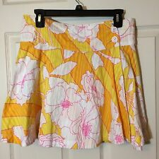 Tommy Jeans Hilfiger Juniors Size 5 Wrap Skirt Floral Hibiscus Orange Yellow GUC