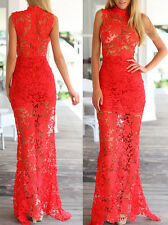 Womens Red Lace Wedding Evening Formal Party Ball Gown Prom Bridesmaid Dress