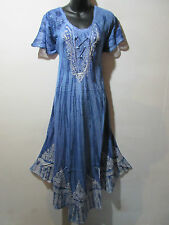Dress Fits XL 1X Plus Long Sundress Blue Tie Dye Lace Sleeves A Shaped NWT 6601